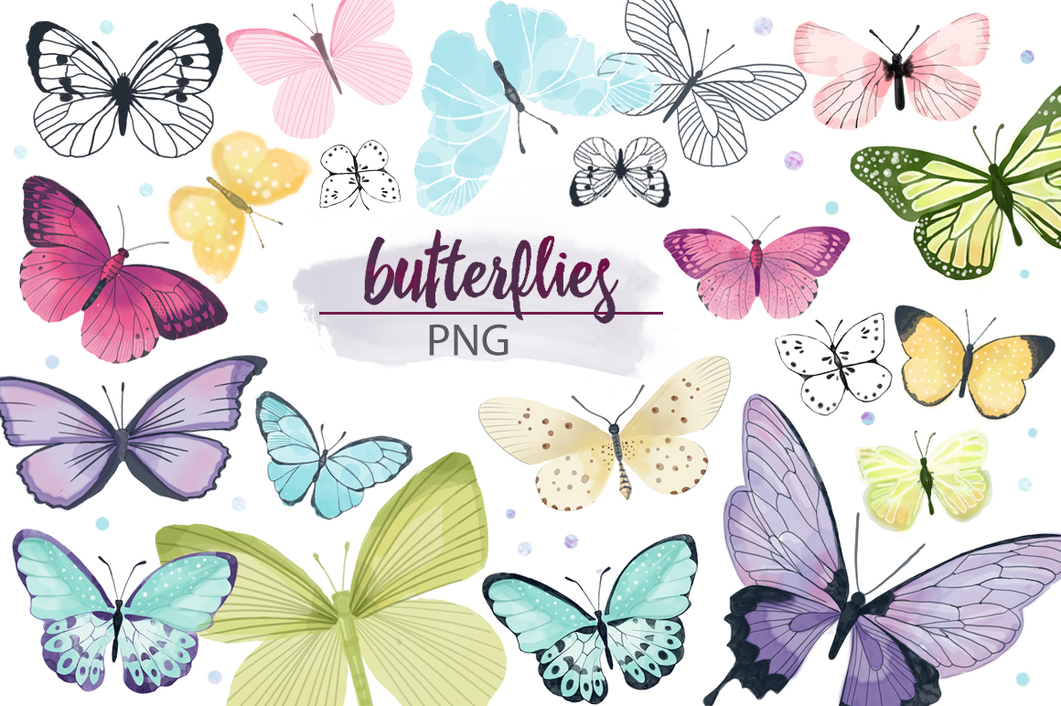 Butterfly Watercolor Pack Graphic Illustrations By sto-va
