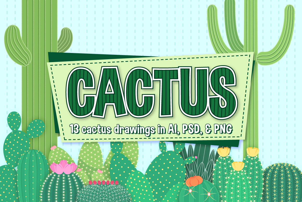 Download Free Cactus Clipart Vector Set Graphic By The Stock Croc Creative SVG Cut Files