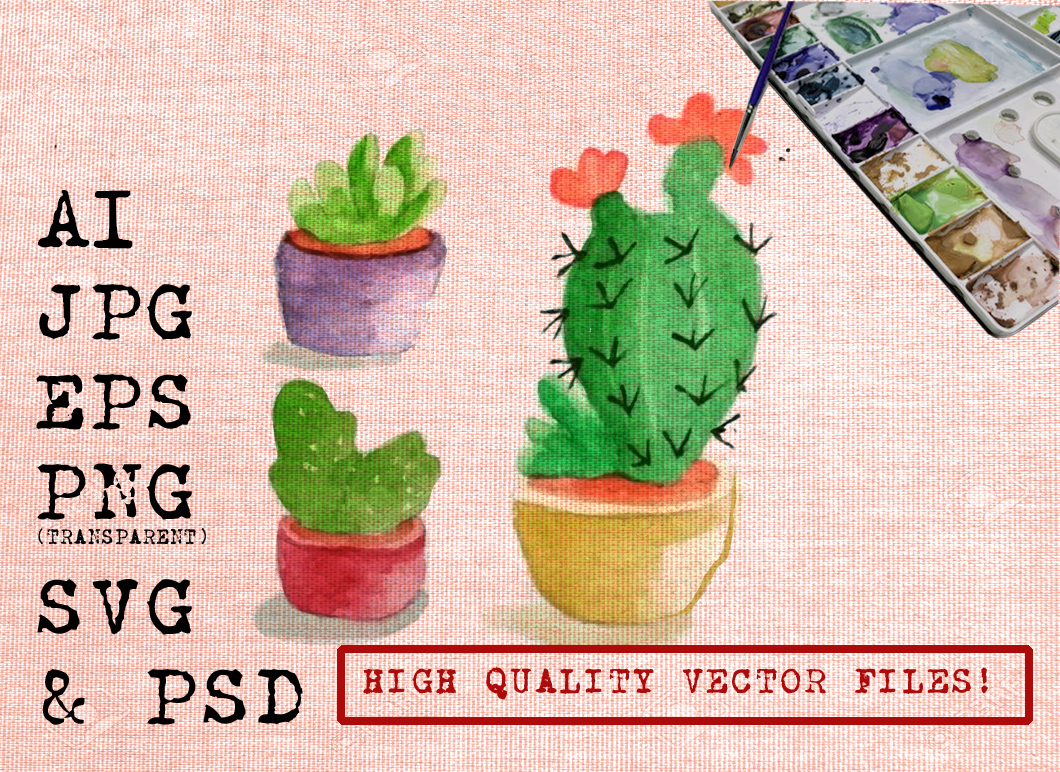 Download Free Cactus Watercolor Graphic By Ambar Art Creative Fabrica for Cricut Explore, Silhouette and other cutting machines.