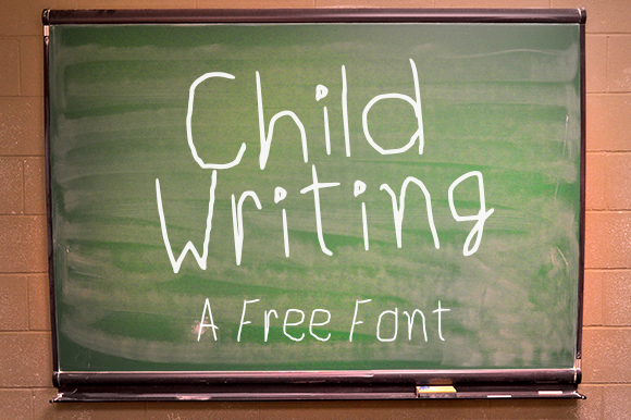 Print on Demand: Child Writing Free Font Font By Creative Fabrica Freebies
