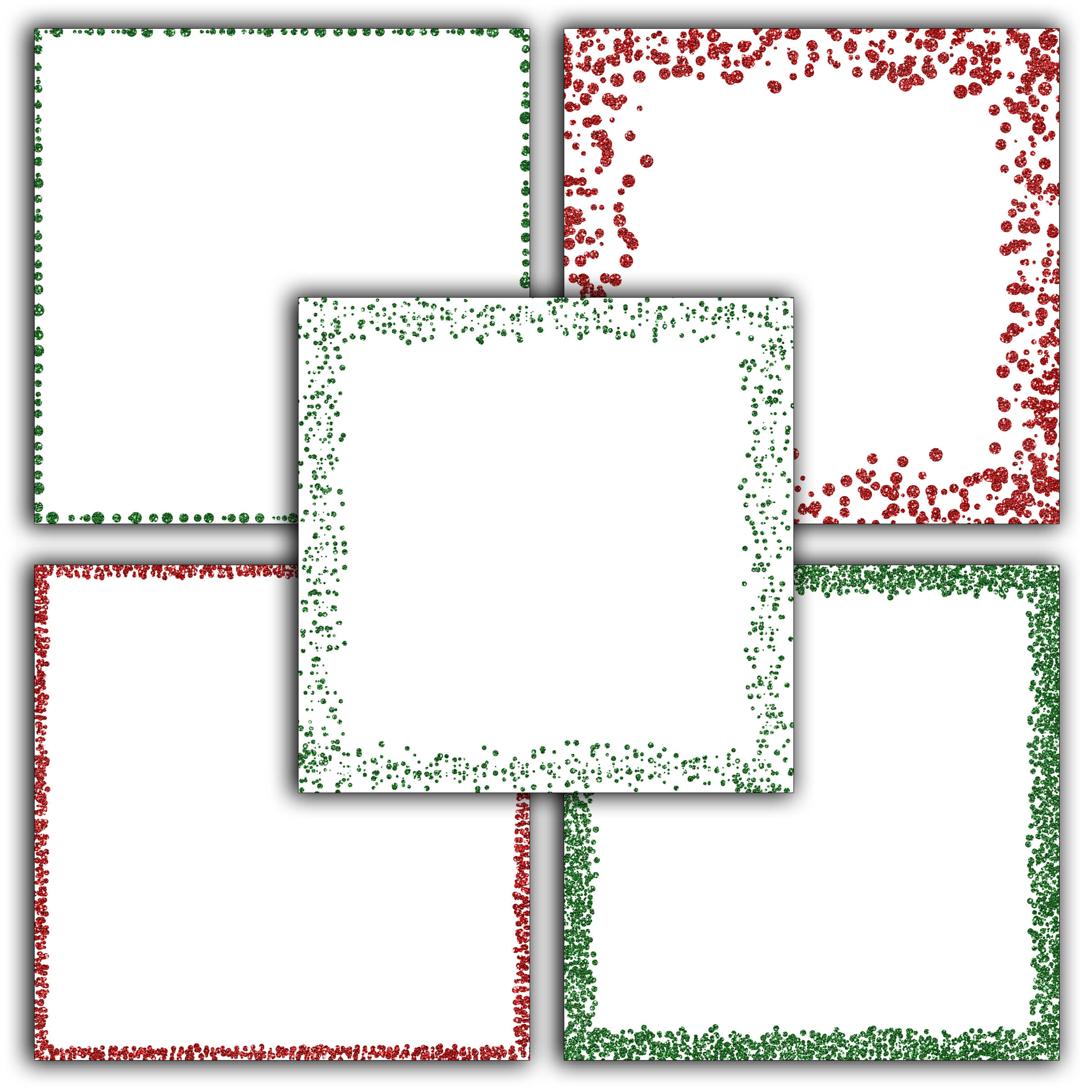 Print on Demand: Christmas Glitter Borders Digital Paper Graphic Backgrounds By oldmarketdesigns - Image 2