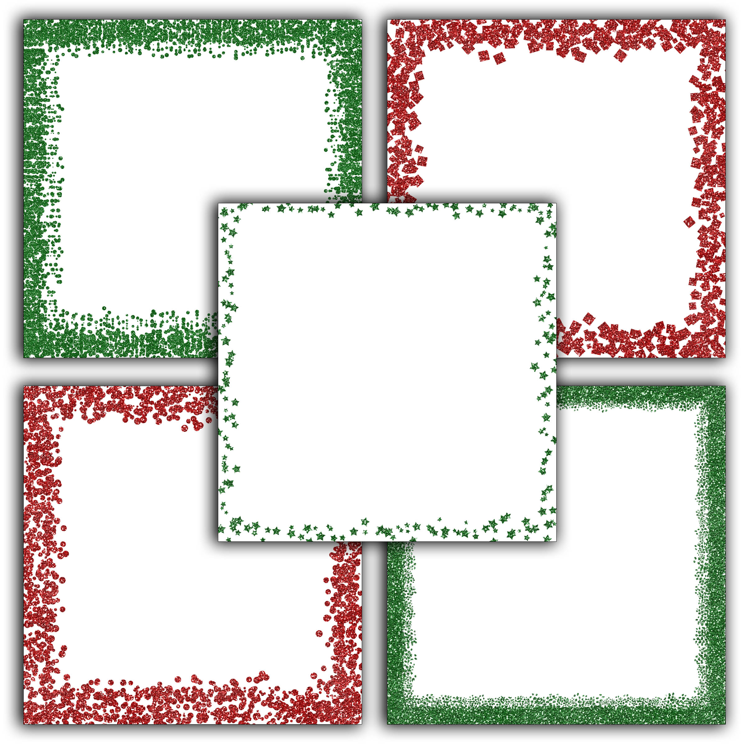 Print on Demand: Christmas Glitter Borders Digital Paper Graphic Backgrounds By oldmarketdesigns - Image 4