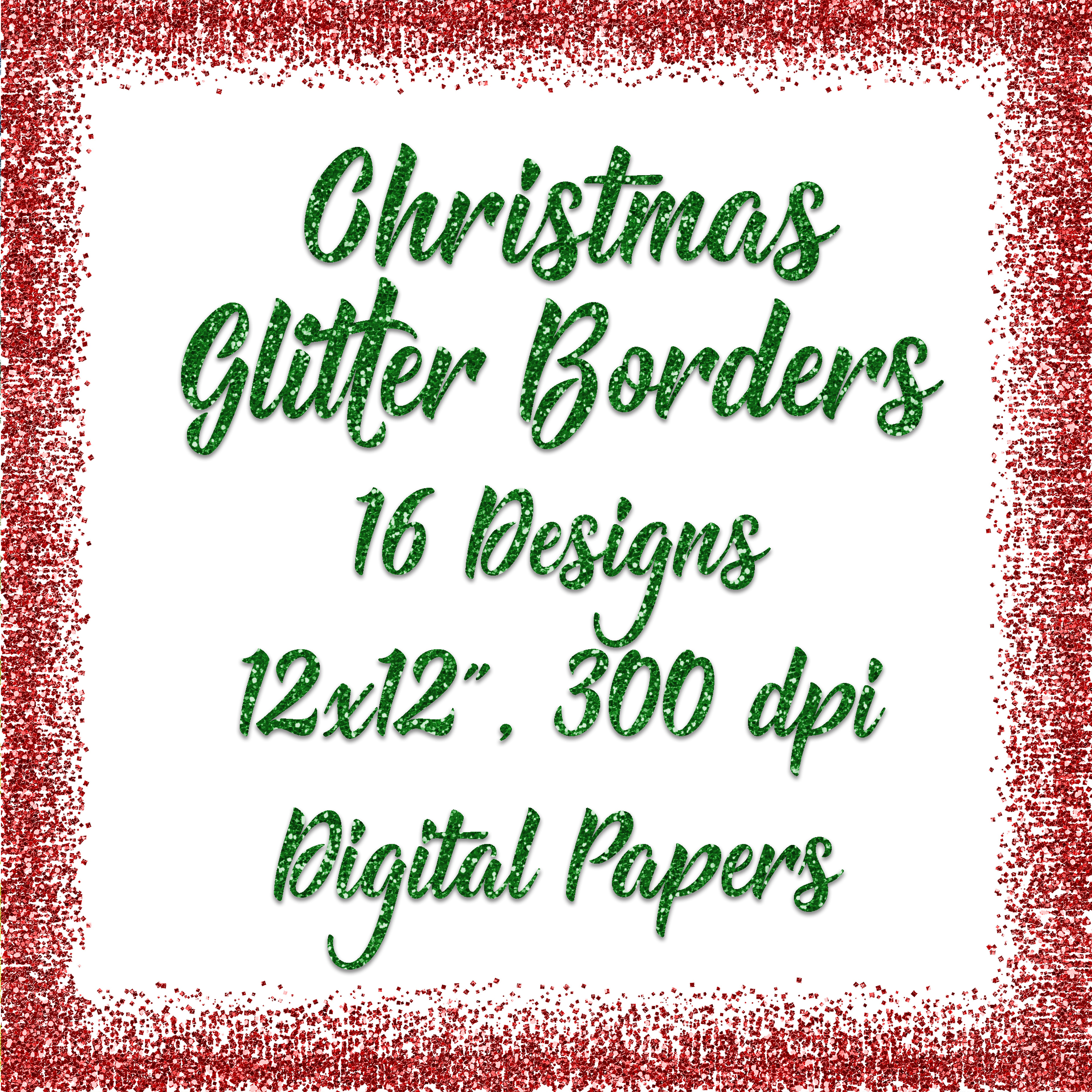 Christmas Glitter Borders Digital Paper Graphic Backgrounds By oldmarketdesigns - Image 5