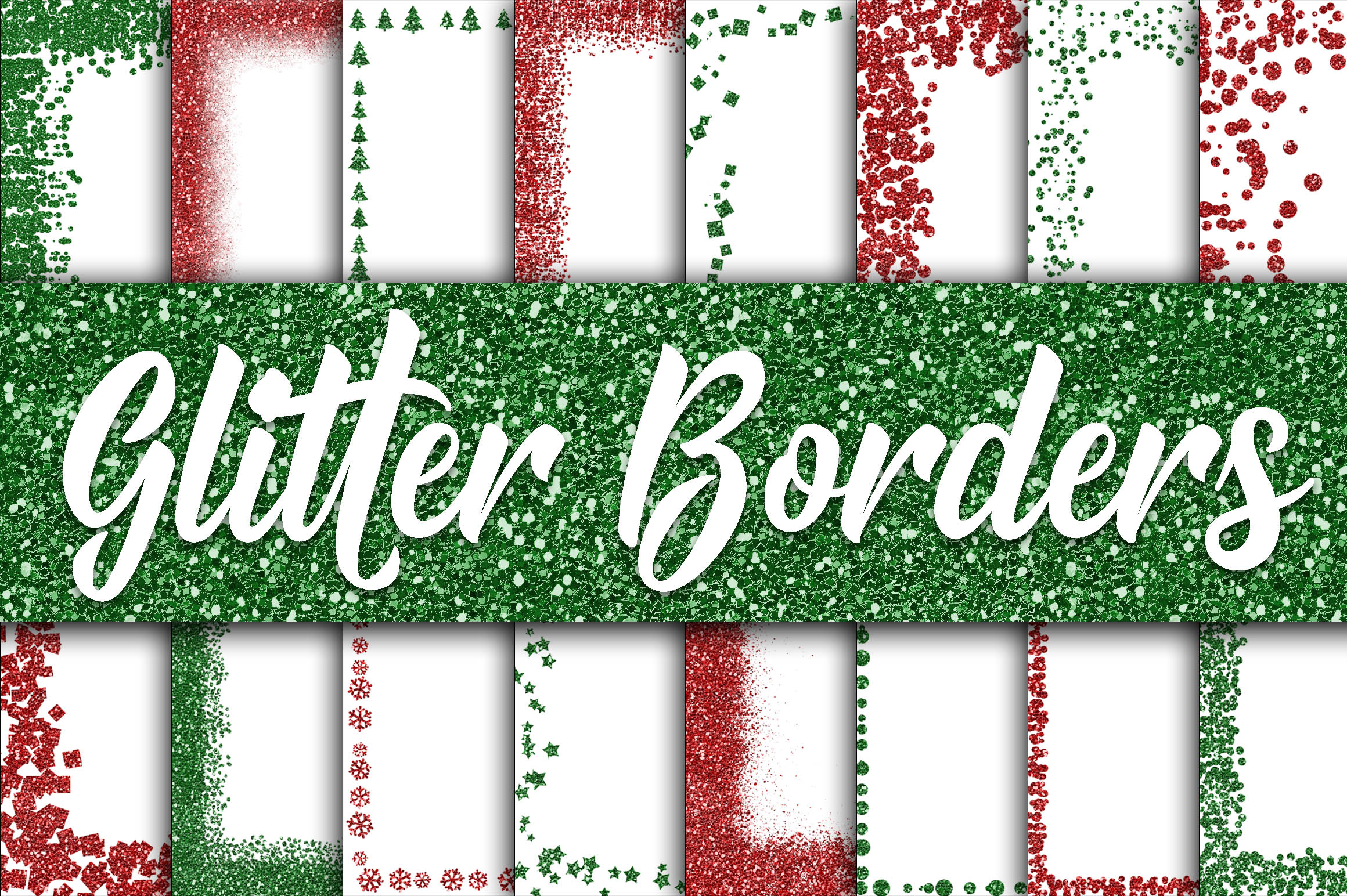 Print on Demand: Christmas Glitter Borders Digital Paper Graphic Backgrounds By oldmarketdesigns
