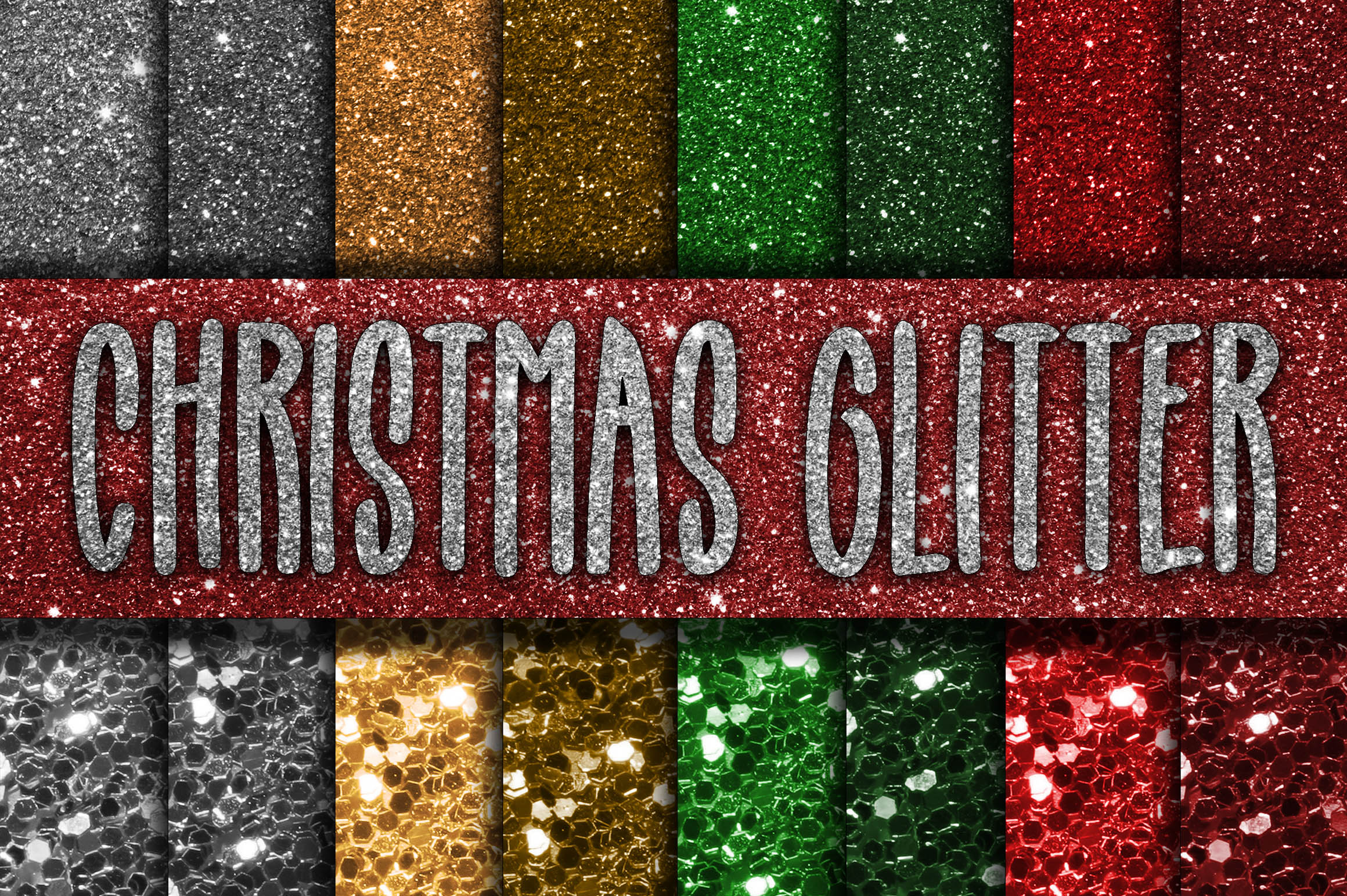Print on Demand: Christmas Glitter Digital Papers Graphic Backgrounds By oldmarketdesigns - Image 1