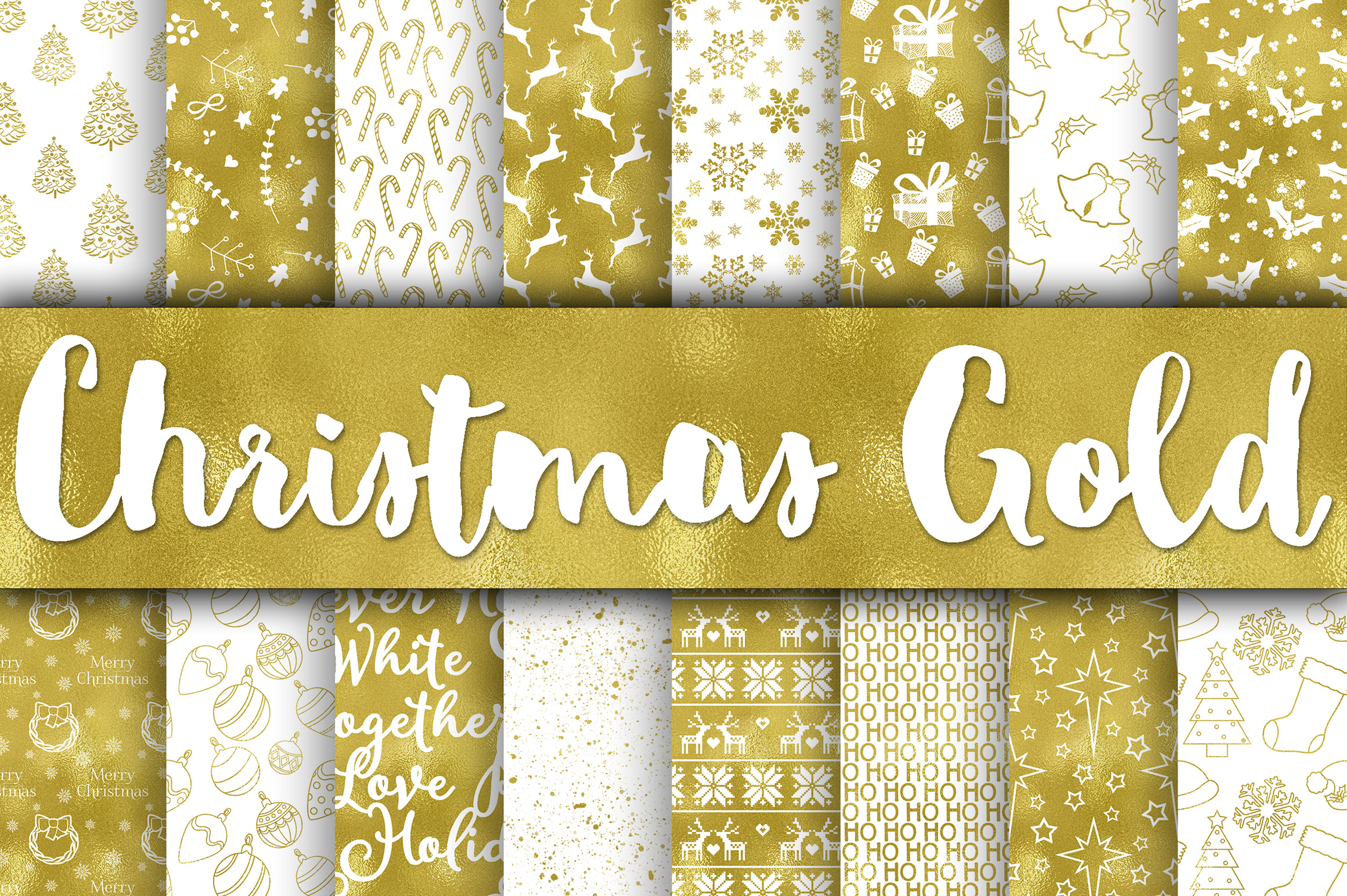 Christmas Gold Digital Papers Graphic Backgrounds By oldmarketdesigns