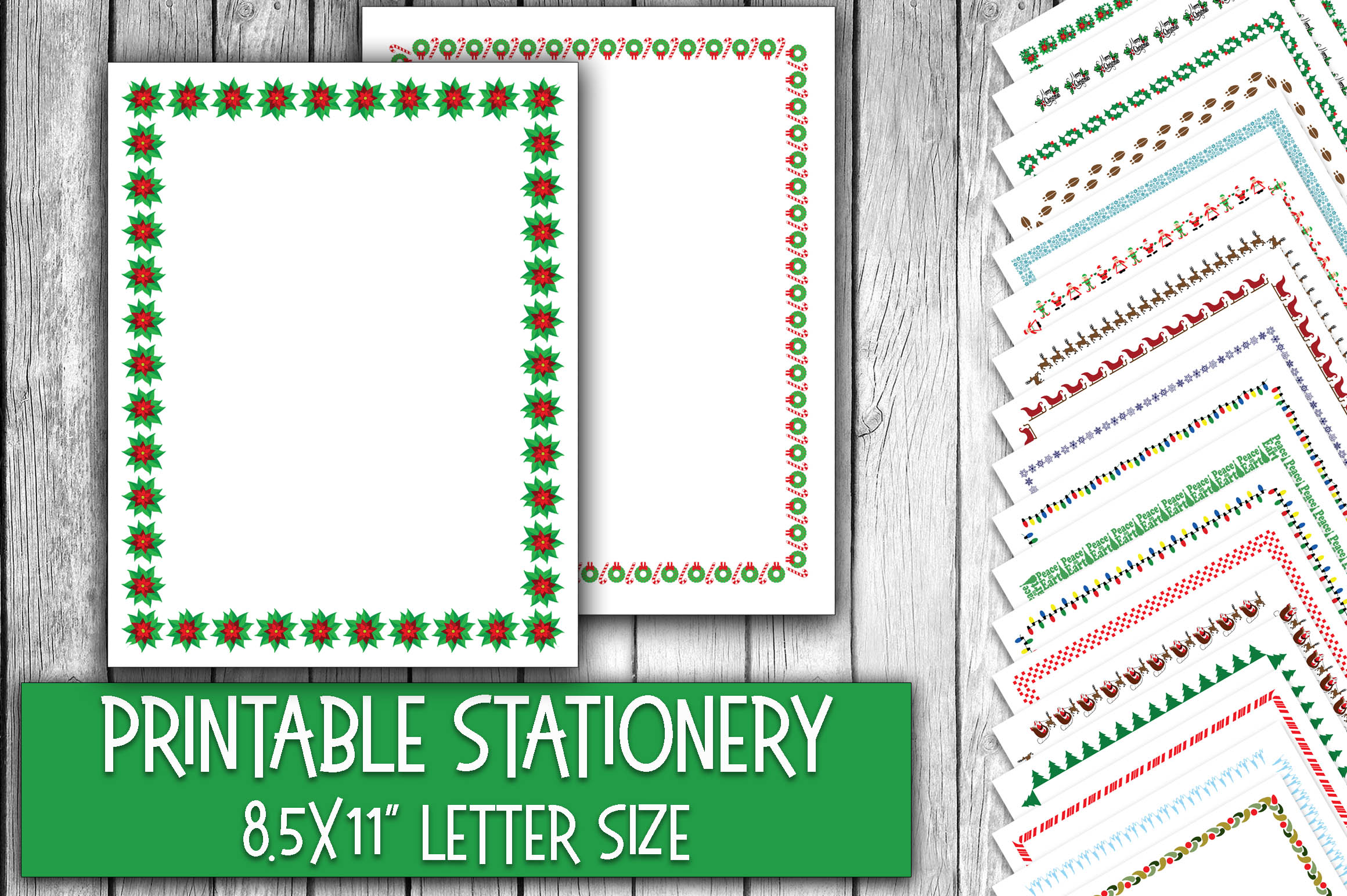 Download Free Christmas Stationery Digital Paper Christmas Letterheads for Cricut Explore, Silhouette and other cutting machines.