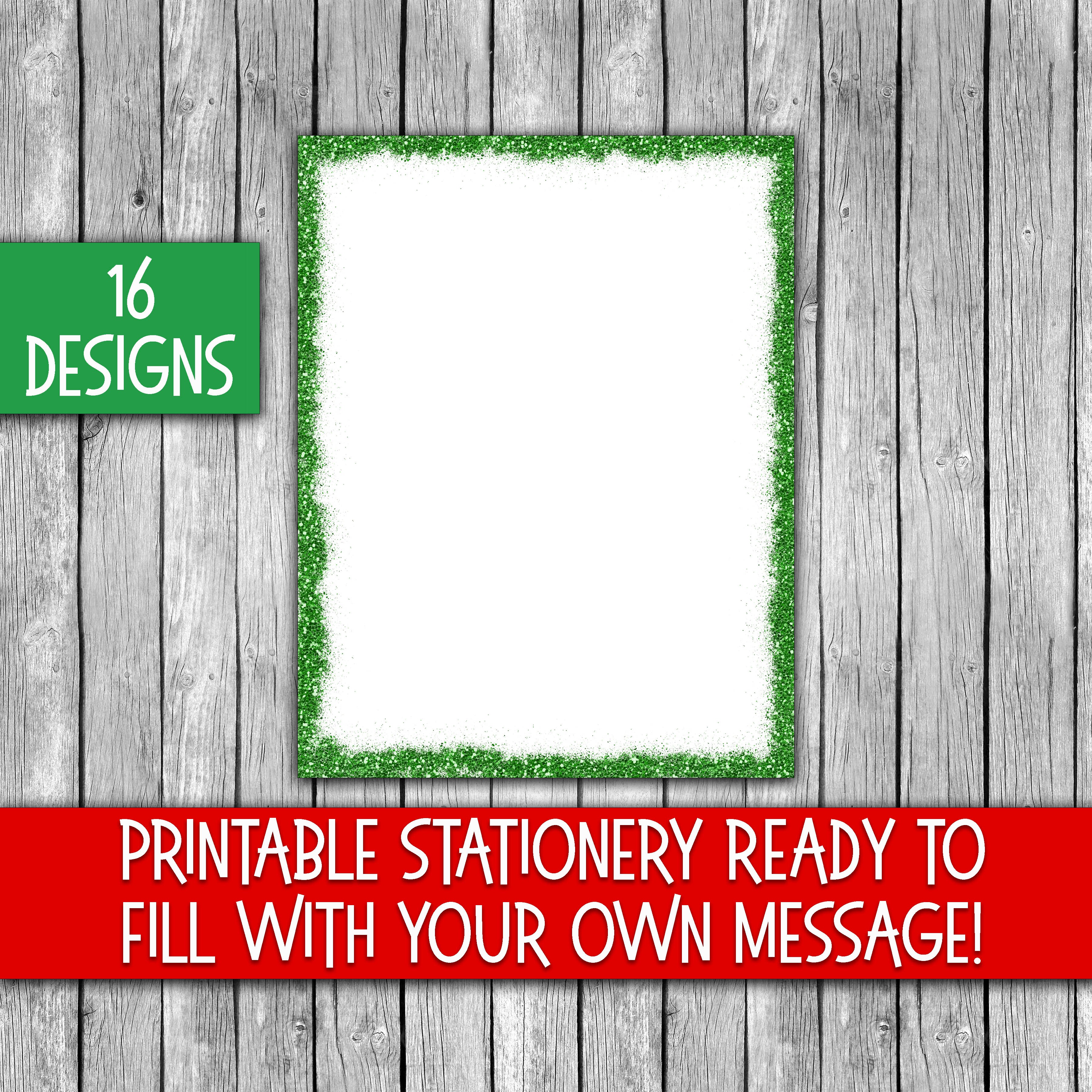 Christmas Stationery - Glitter Borders - Digital Paper Graphic By oldmarketdesigns Image 2