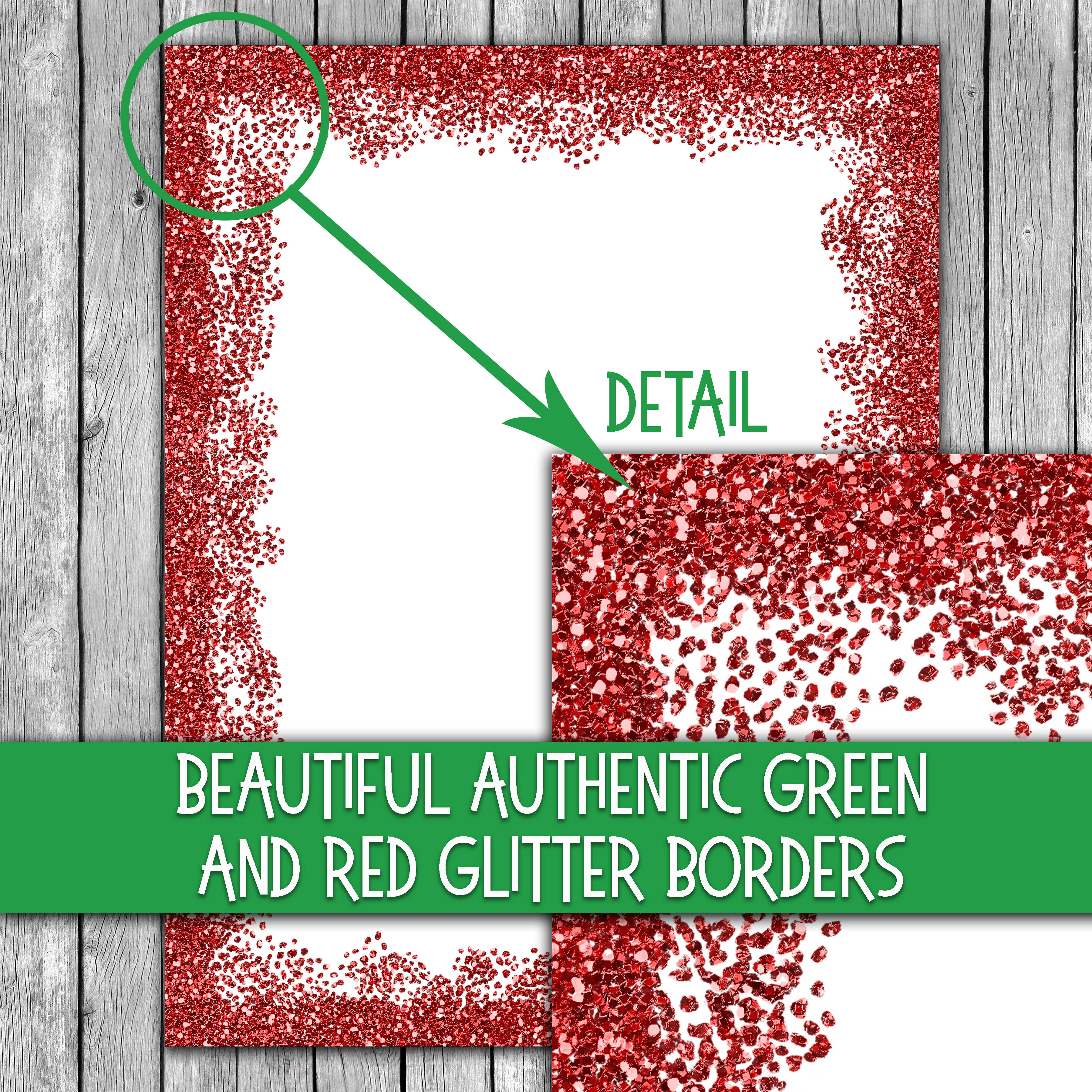 Christmas Stationery - Glitter Borders - Digital Paper Graphic By oldmarketdesigns Image 3