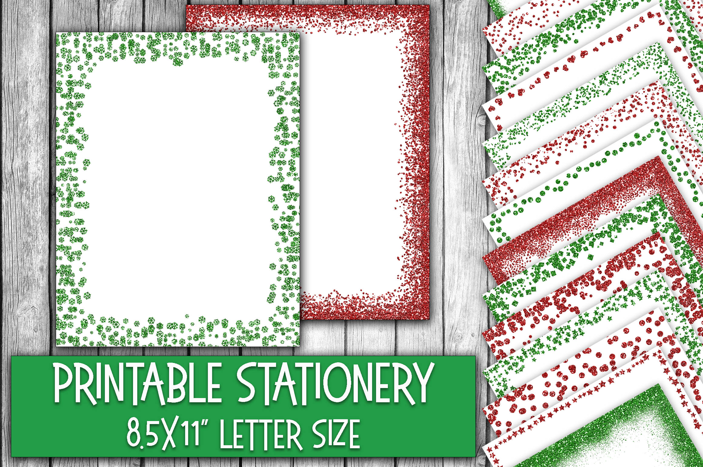 Christmas Stationery - Glitter Borders - Digital Paper Graphic Backgrounds By oldmarketdesigns