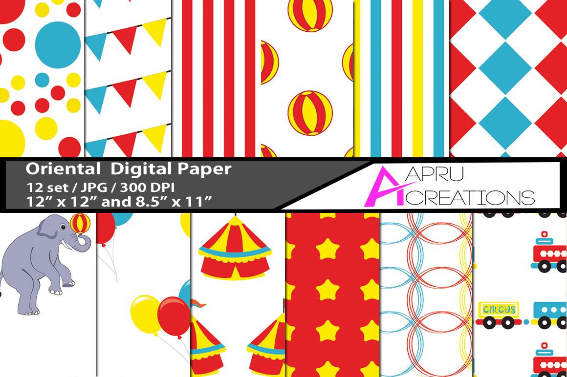 Print on Demand: Circus Digital Papers Graphic Illustrations By aparnastjp