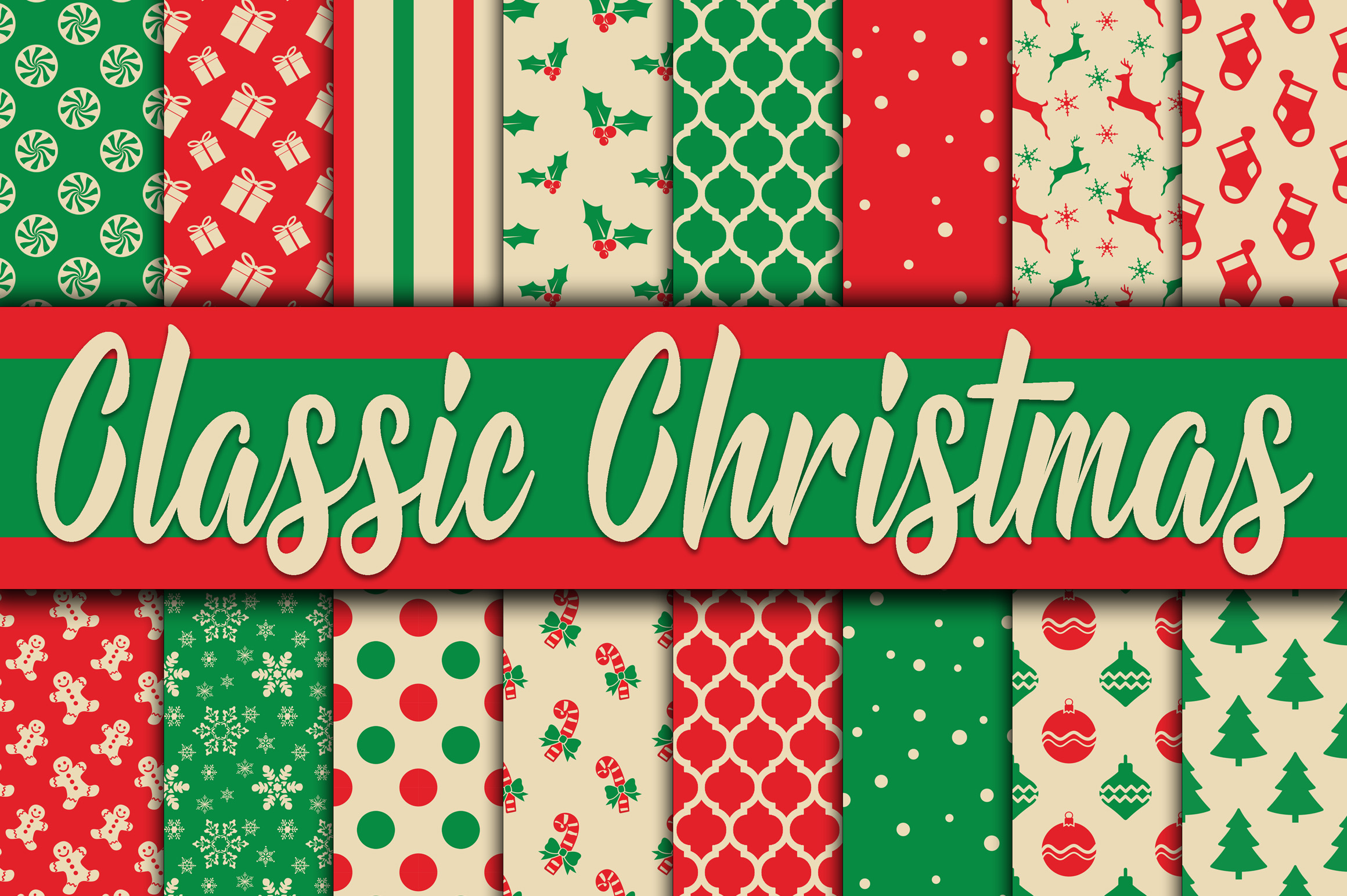 Print on Demand: Classic Christmas Digital Paper Graphic Backgrounds By oldmarketdesigns