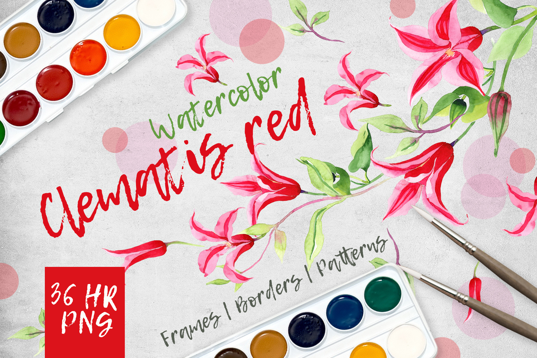 Print on Demand: Clematis Red PNG Watercolor Flower Set Graphic Illustrations By MyStocks