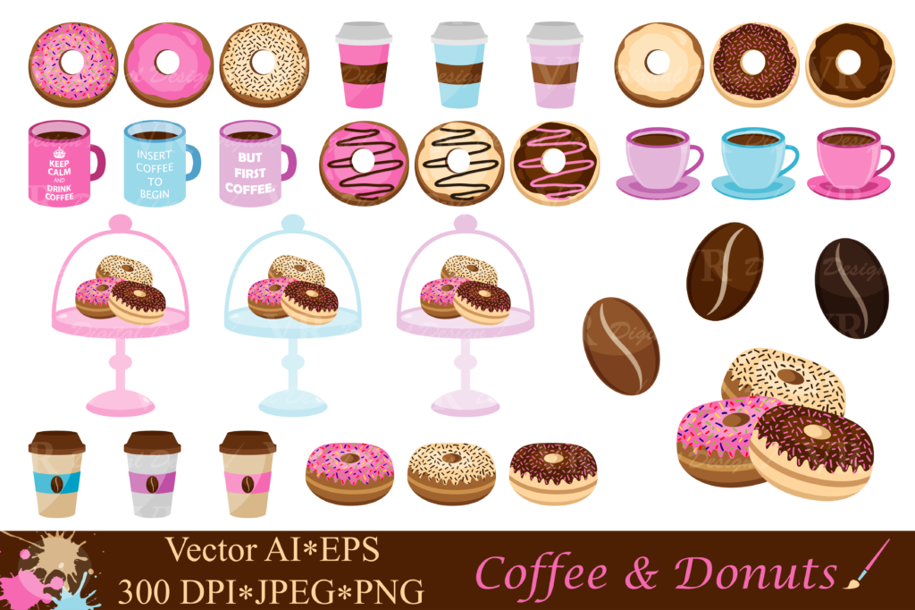 Download Free Coffee And Donuts Clipart Vector Grafico Por Vr Digital Design for Cricut Explore, Silhouette and other cutting machines.