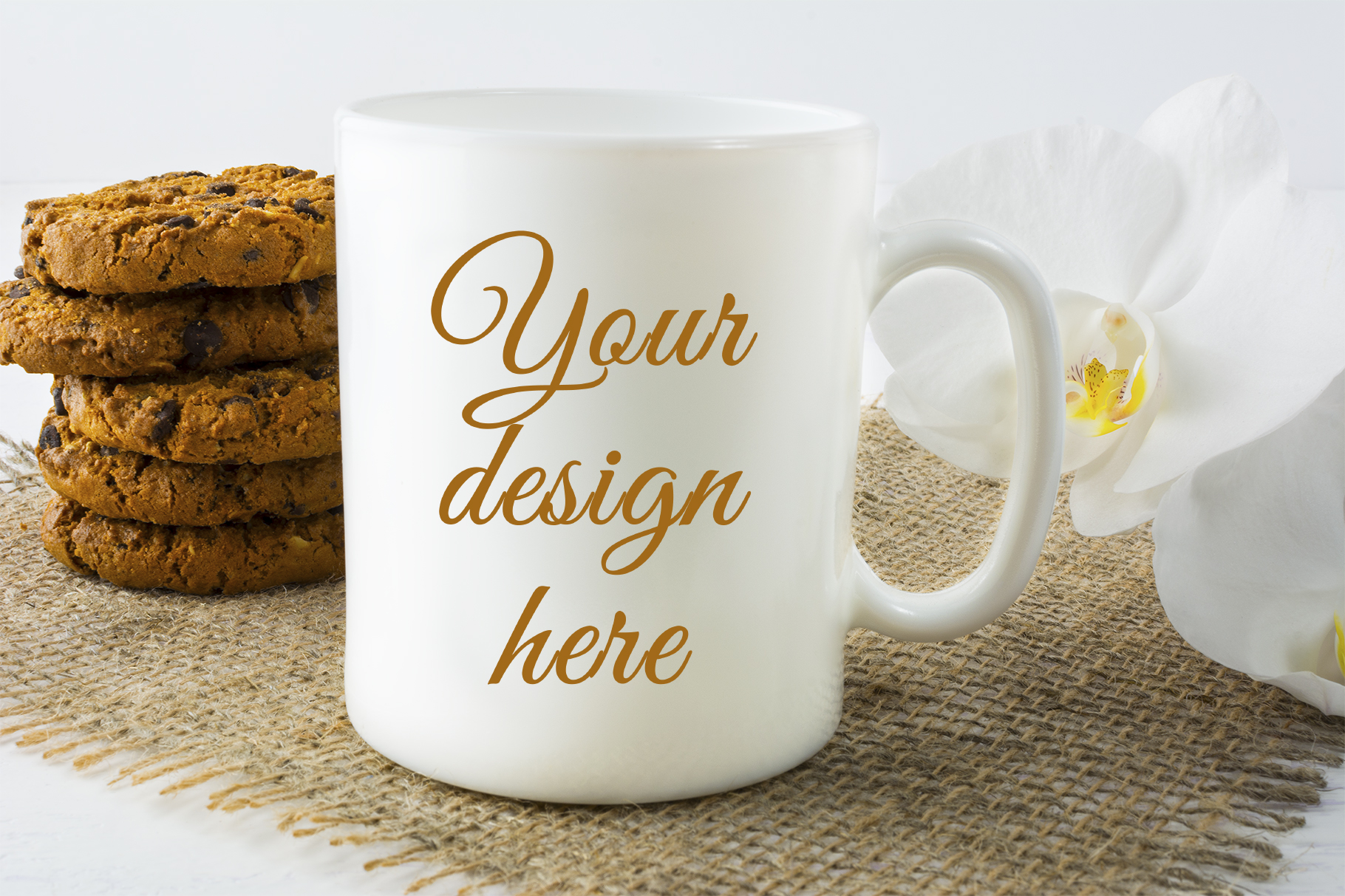 Print on Demand: Coffee Mug Mockup with Cookies Graphic Product Mockups By TasiPas