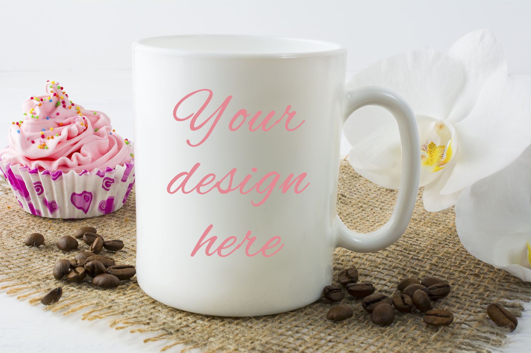 Print on Demand: Coffee Mug Mockup with Muffin Graphic Product Mockups By TasiPas - Image 1