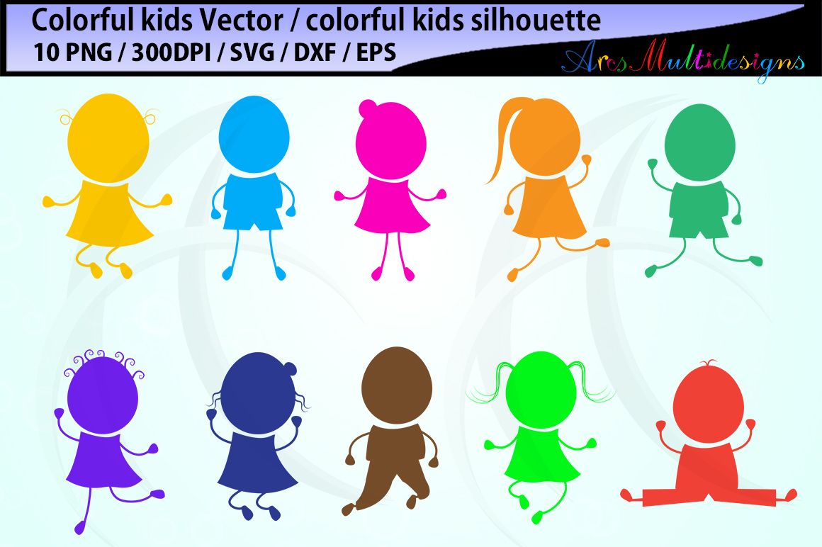 Download Free Colorful Kids Graphic By Arcs Multidesigns Creative Fabrica for Cricut Explore, Silhouette and other cutting machines.