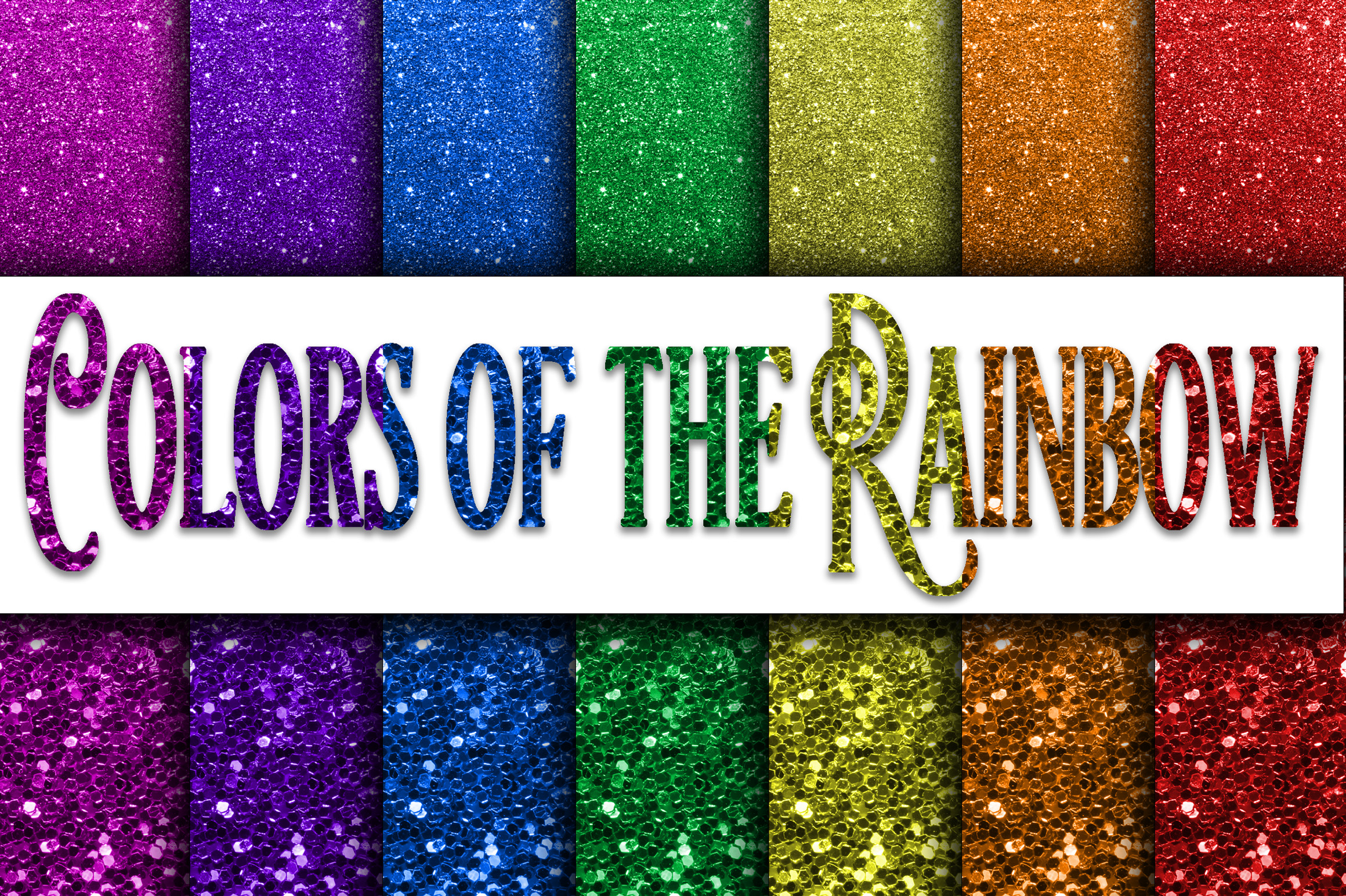 Colors of the Rainbow Glitter Digital Papers Graphic Backgrounds By oldmarketdesigns