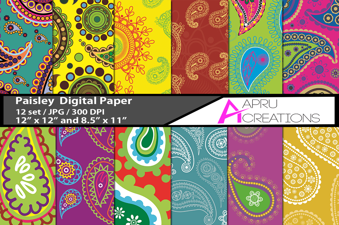 Print on Demand: Coloured Paisley Digital Papers Graphic Patterns By aparnastjp
