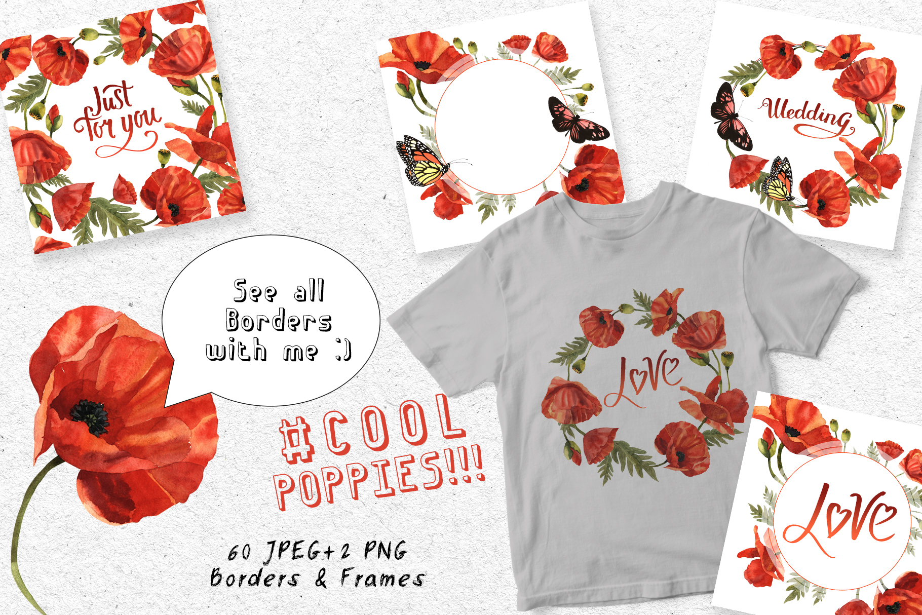 Download Free Cool Poppies Watercolor Set Graphic By Mystocks Creative Fabrica for Cricut Explore, Silhouette and other cutting machines.