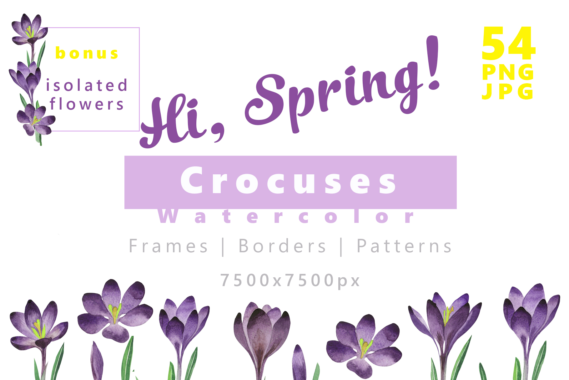 Download Free Crocuses Flower Png Watercolor Set Creative Fabrica for Cricut Explore, Silhouette and other cutting machines.