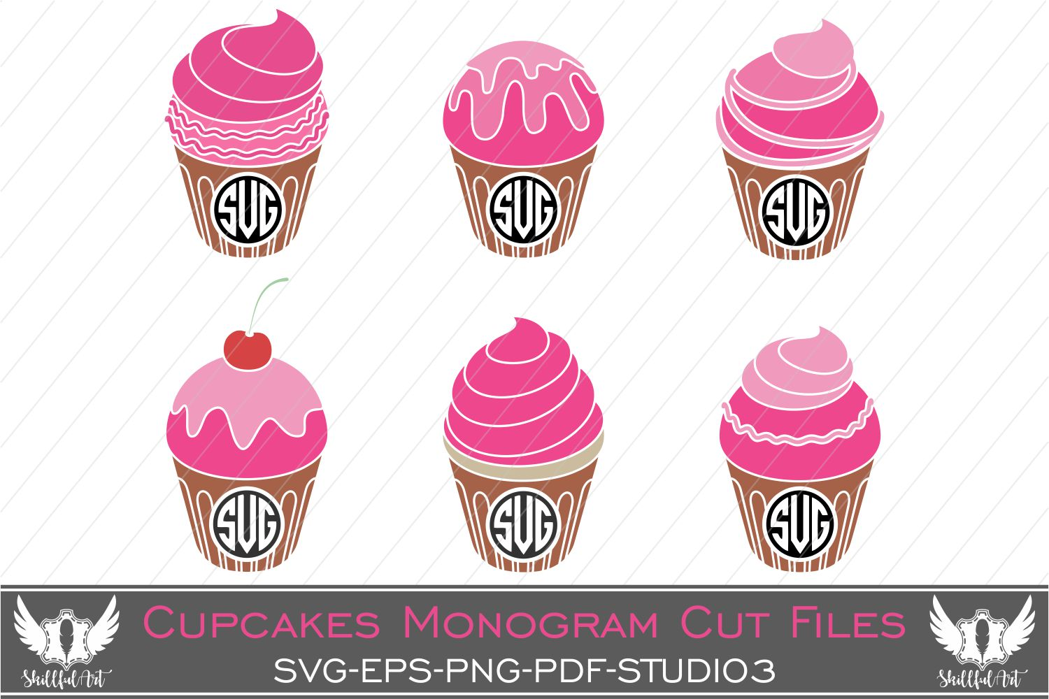 Download Free Cupcake Monogram Graphic By Skillfulart Creative Fabrica for Cricut Explore, Silhouette and other cutting machines.