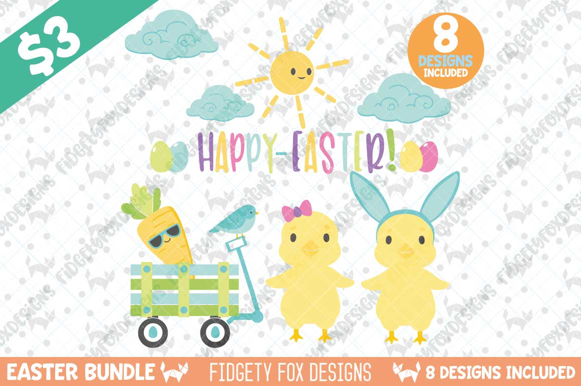 Cute Easter SVG Bundle Graphic By Fidgety Fox Designs