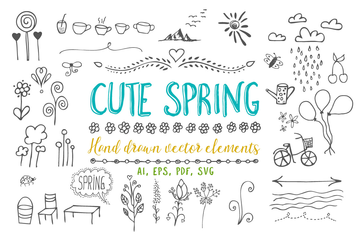 Cute Spring Vector Illustrations Graphic Illustrations By andesign