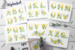 Daffodils  – Spring Alphabet and Wreath Graphic By nicjulia