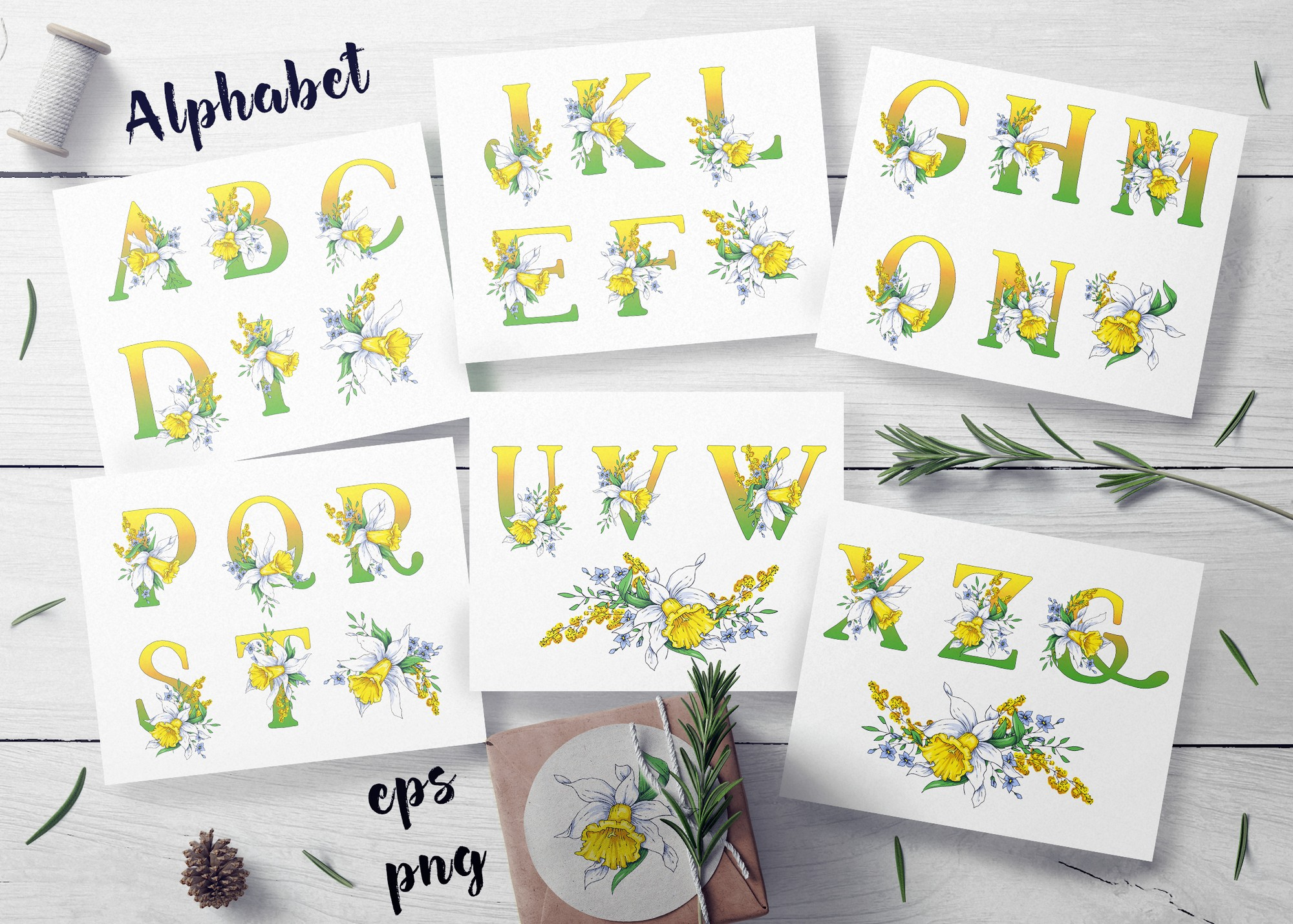 Print on Demand: Daffodils  – Spring Alphabet and Wreath Graphic Illustrations By nicjulia