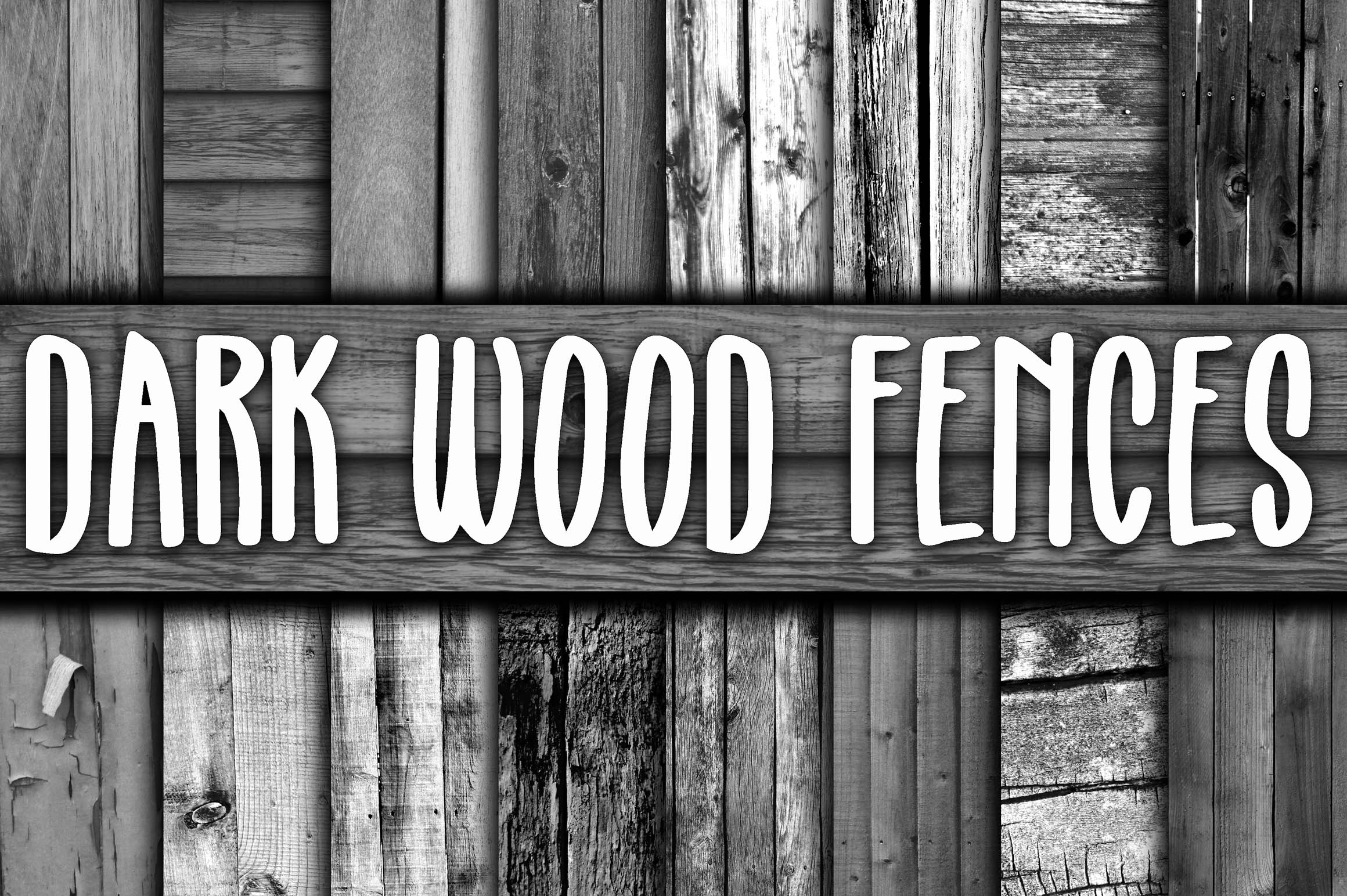 Print on Demand: Dark Wood Fence Textures Digital Paper Graphic Backgrounds By oldmarketdesigns