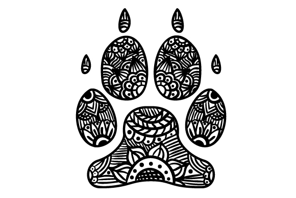 Dog Paw Print Zentangle Perros Archivo de Corte Craft Por Creative Fabrica Crafts