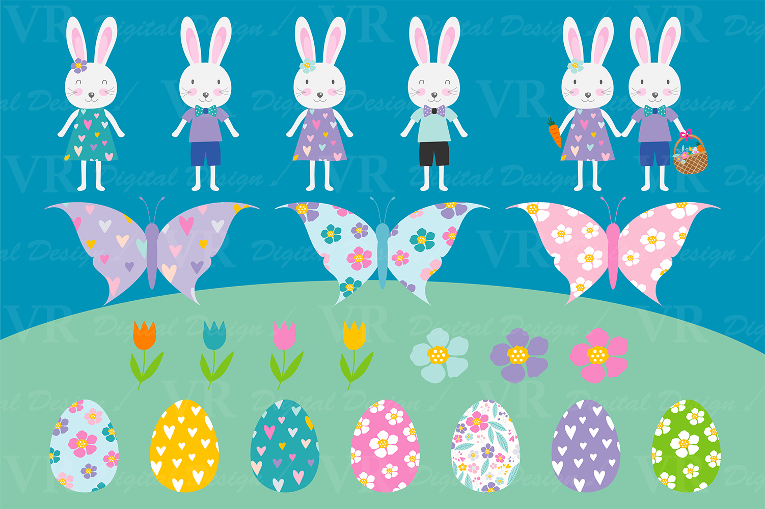 Download Free Easter Bunny Clipart Graphic By Vr Digital Design Creative Fabrica for Cricut Explore, Silhouette and other cutting machines.