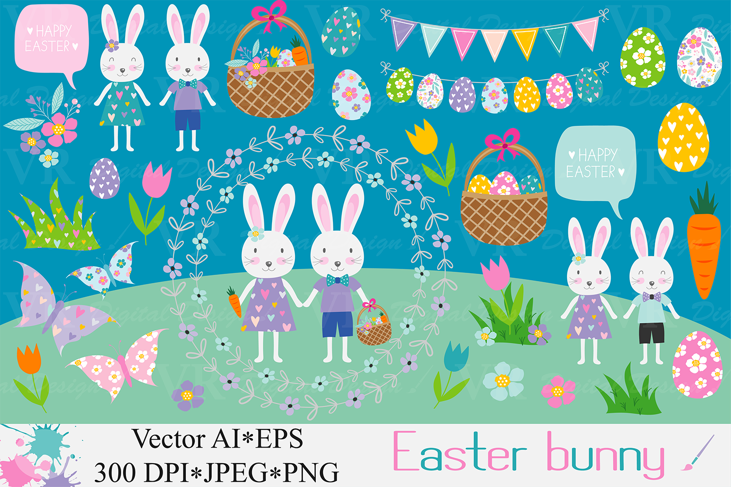 Download Free Easter Bunny Clipart Grafico Por Vr Digital Design Creative for Cricut Explore, Silhouette and other cutting machines.