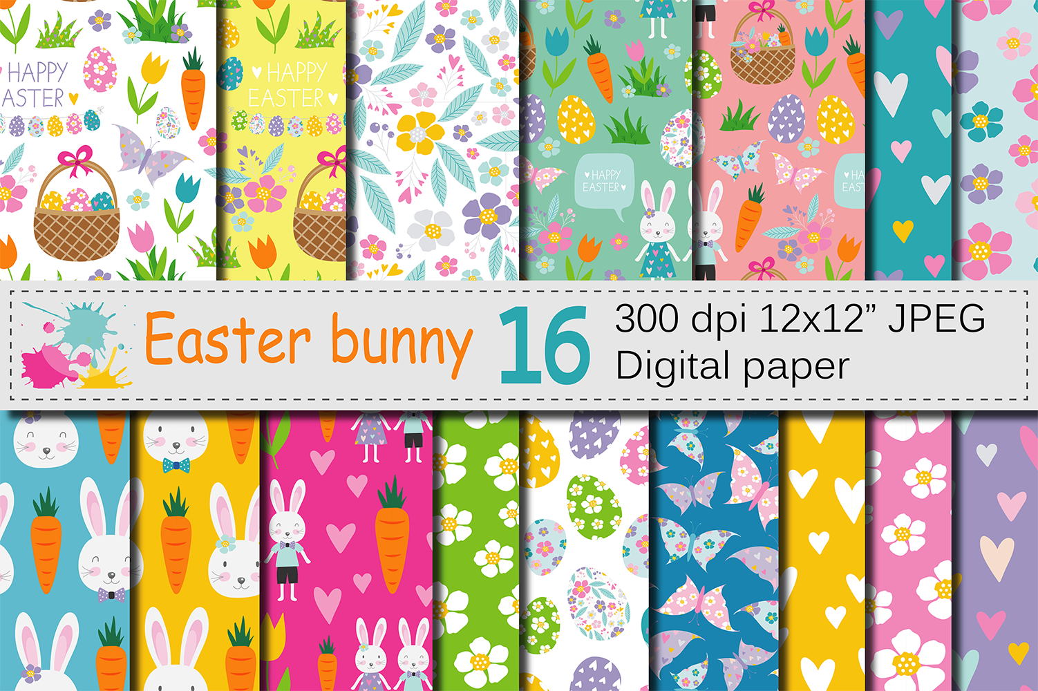 Download Free Easter Bunny Digital Paper Graphic By Vr Digital Design for Cricut Explore, Silhouette and other cutting machines.