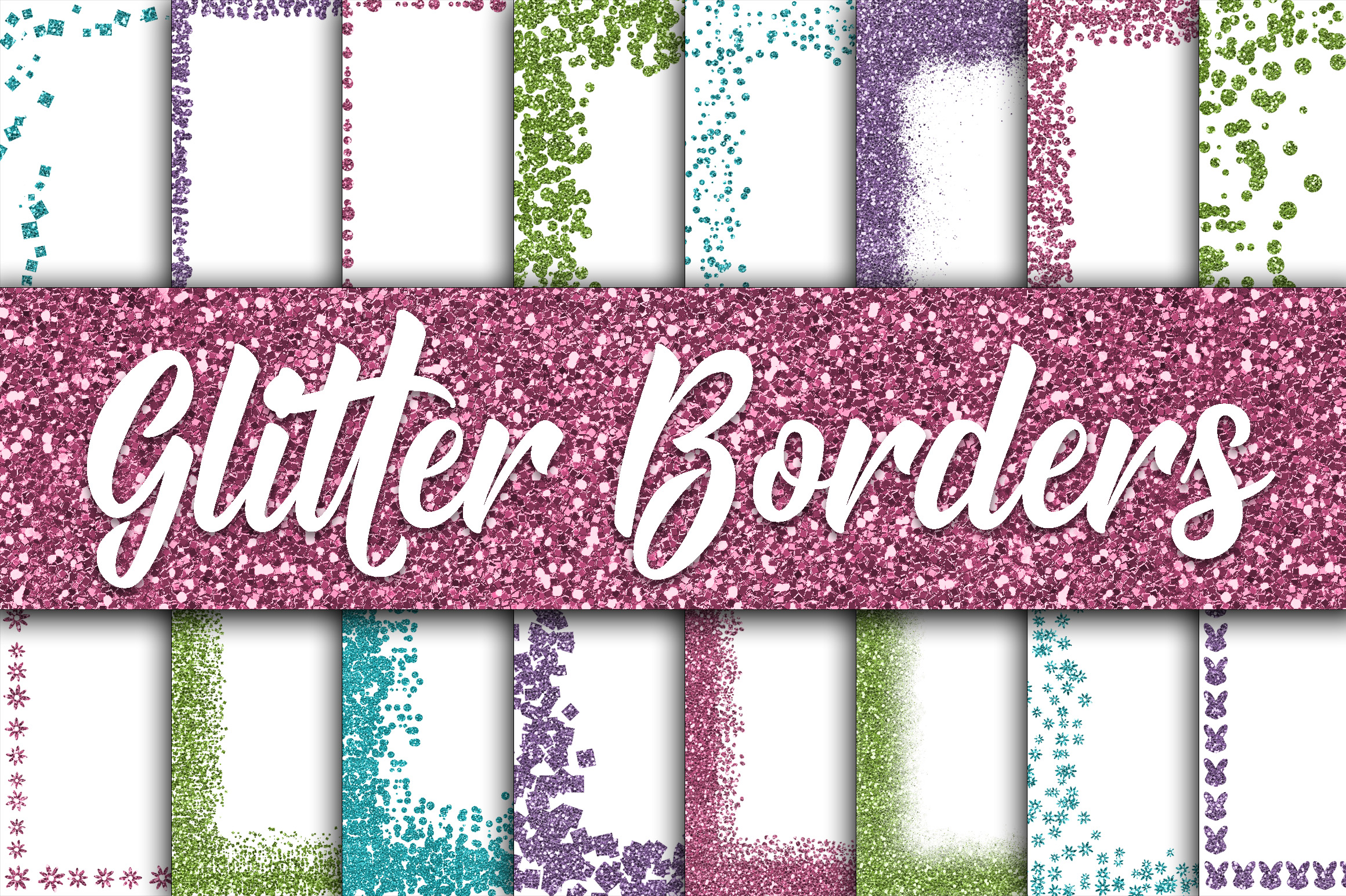 Print on Demand: Easter Glitter Borders Digital Paper Graphic Backgrounds By oldmarketdesigns