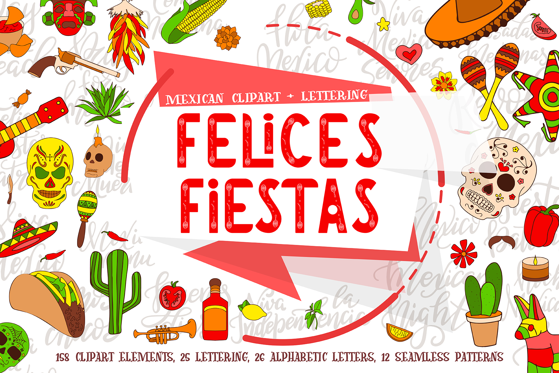 Felices Fiestas Clipart + Lettering Graphic Illustrations By tregubova.jul