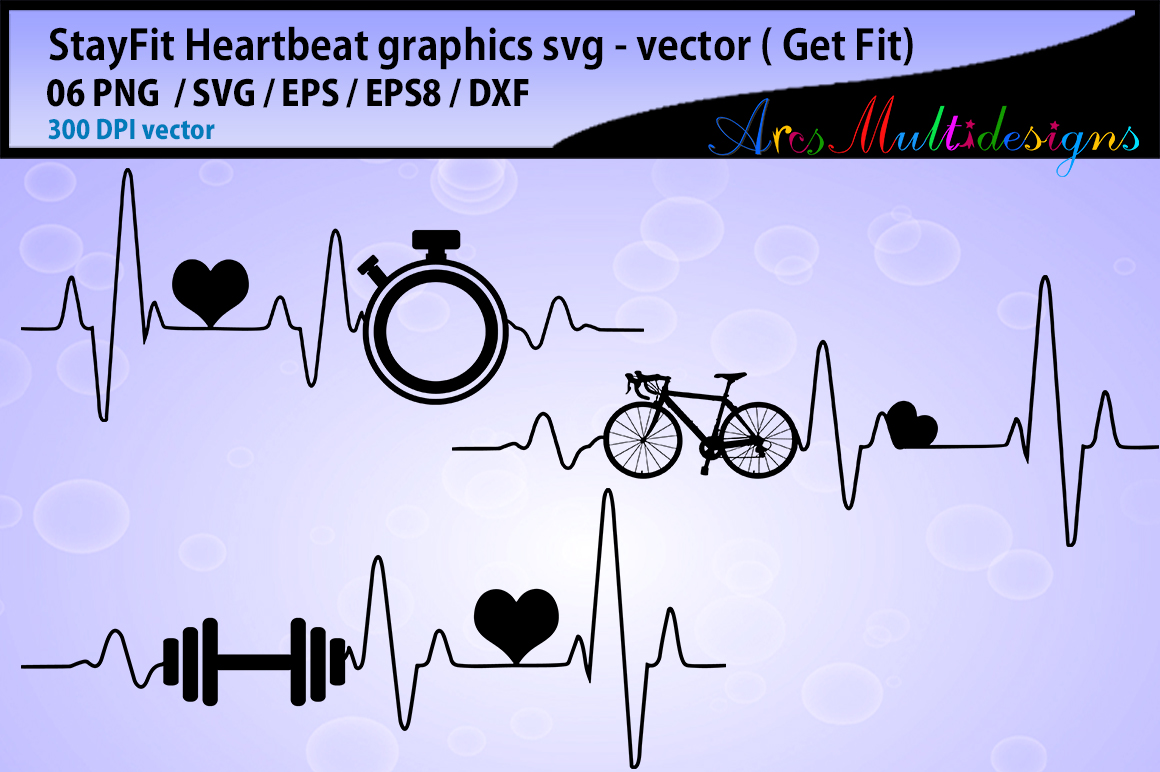 Download Free Fitness Heartbeat Set Graphic By Arcs Multidesigns Creative for Cricut Explore, Silhouette and other cutting machines.
