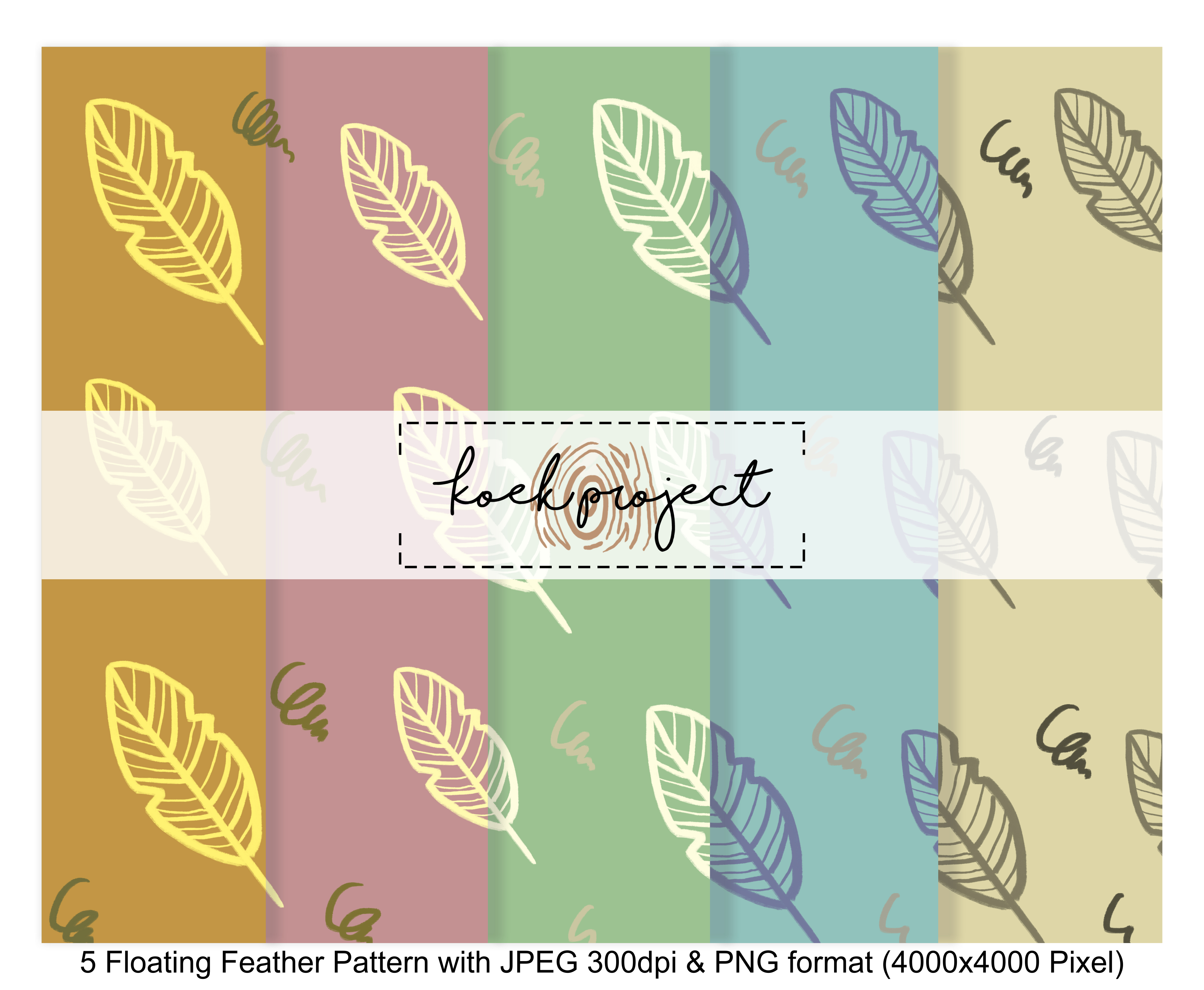 Floating Feather Pattern Pack Gráfico Moldes Por koekprojects