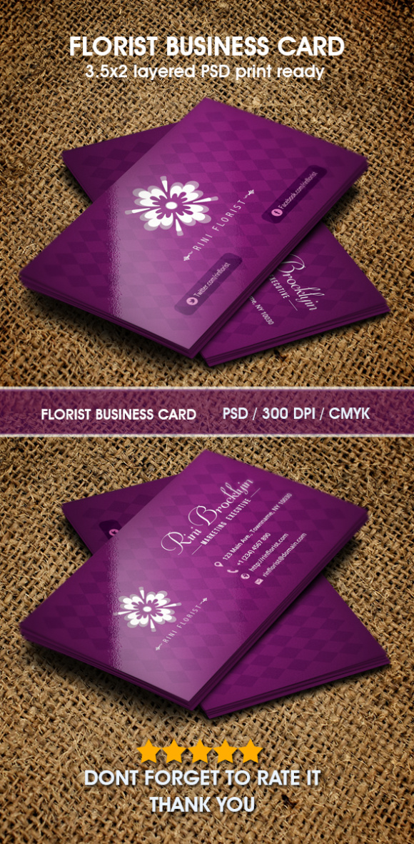 Florist business card Graphic by Hustletter - Creative Fabrica