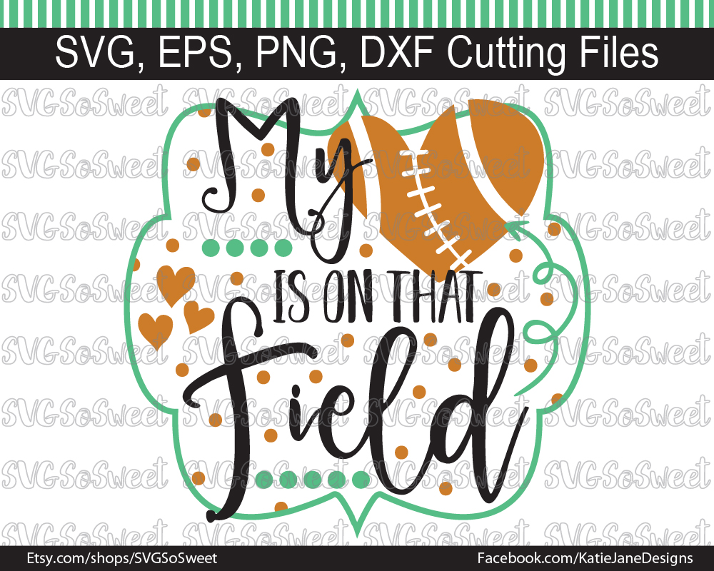 Football - My Heart is on That Field Gráfico Crafts Por Southern Belle Graphics