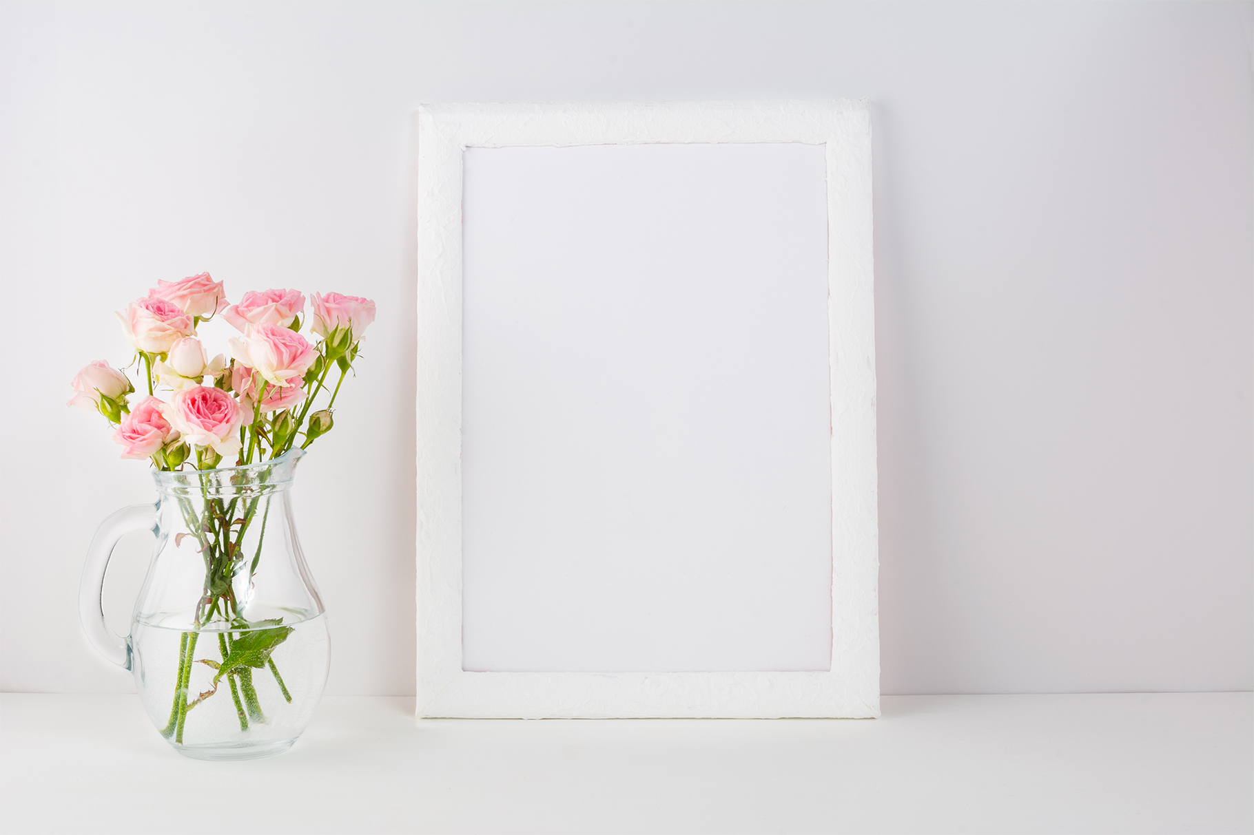 Frame Mockup with Pink Roses Graphic By TasiPas Image 2
