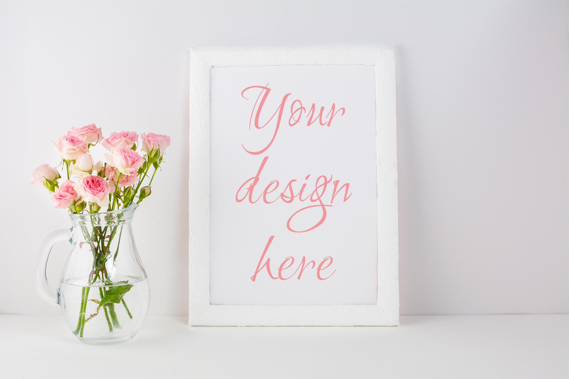 Print on Demand: Frame Mockup with Pink Roses Graphic Product Mockups By TasiPas