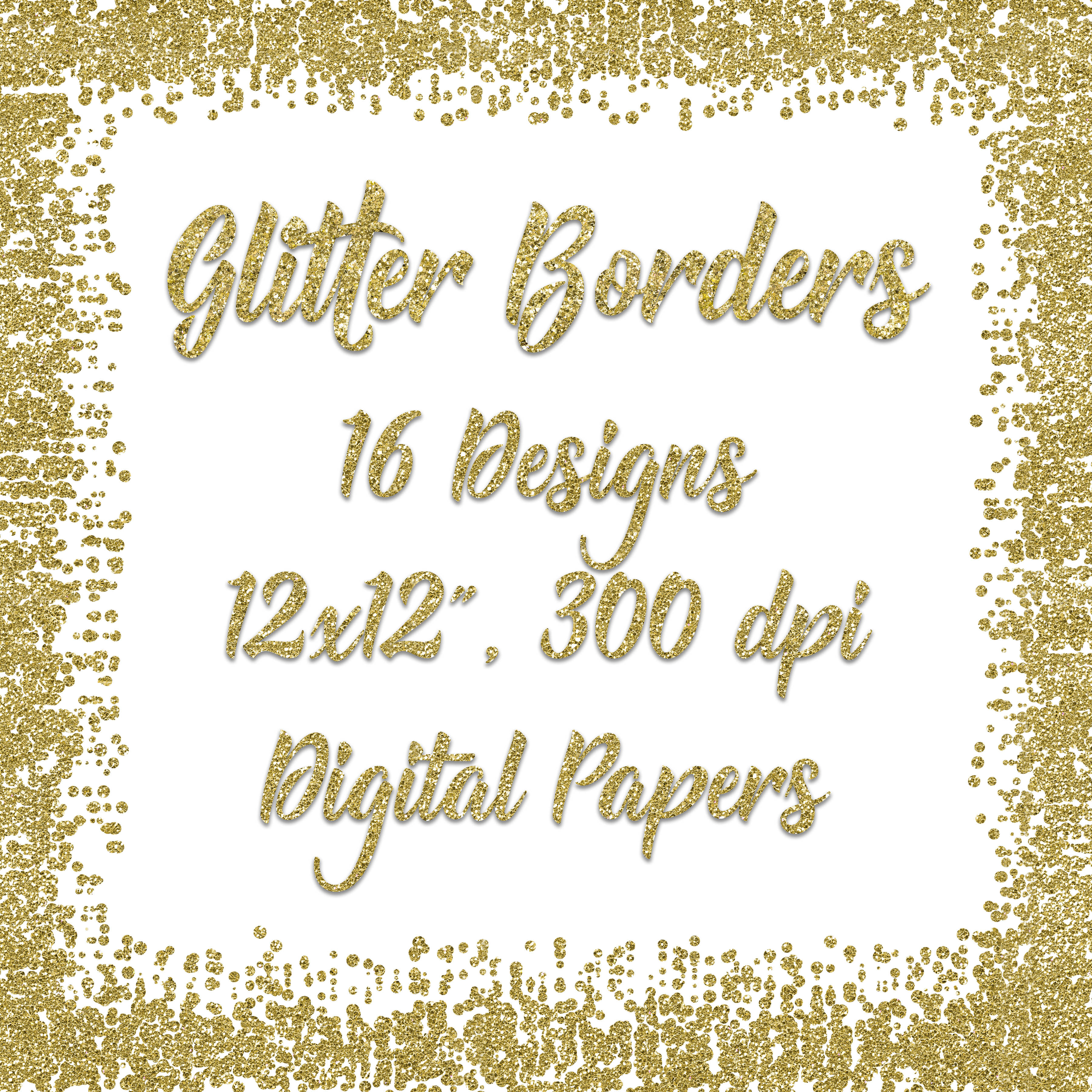 Print on Demand: Gold Glitter Borders Digital Paper Graphic Backgrounds By oldmarketdesigns - Image 2