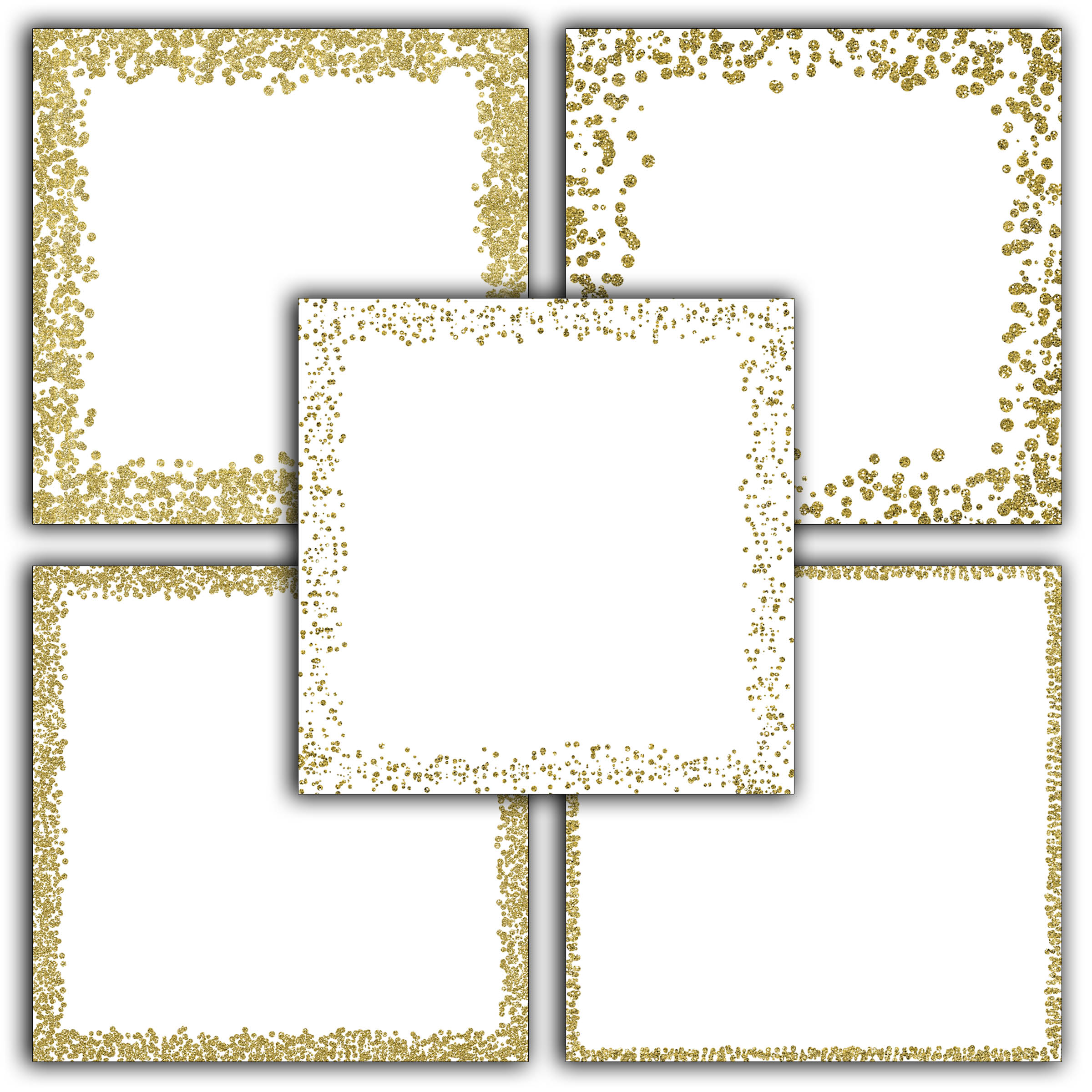 Print on Demand: Gold Glitter Borders Digital Paper Graphic Backgrounds By oldmarketdesigns - Image 3