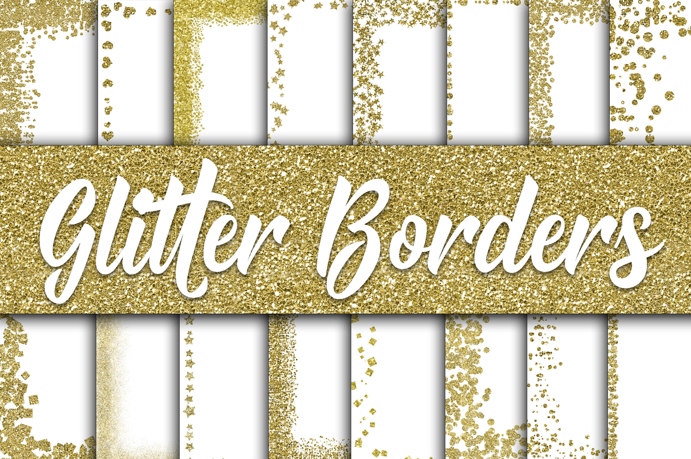 Download Free Gold Glitter Borders Digital Paper Graphic By Oldmarketdesigns for Cricut Explore, Silhouette and other cutting machines.