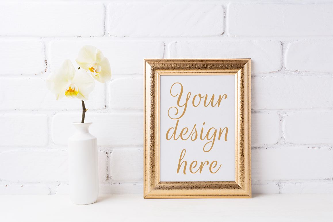 Download Free Golden Frame Mockup With Soft Yellow Orchid In Vase Grafik Von for Cricut Explore, Silhouette and other cutting machines.