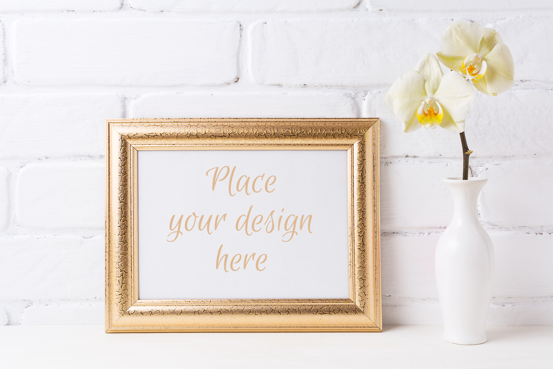 Golden  Landscape Frame Mockup with Soft Yellow Orchid in Vase Graphic By TasiPas