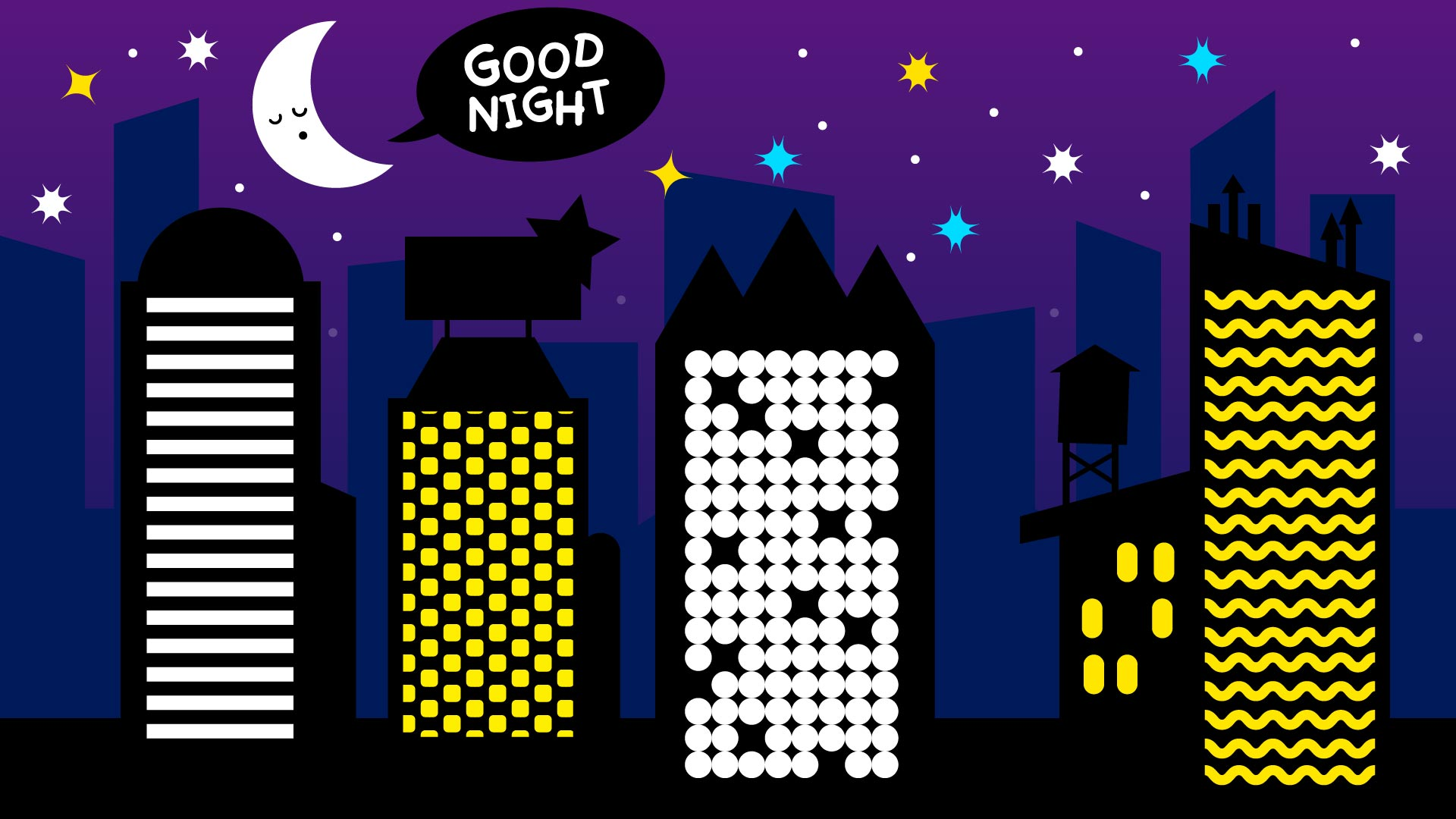 Download Free Good Night City Background Graphic By Davidrockdesign Creative for Cricut Explore, Silhouette and other cutting machines.