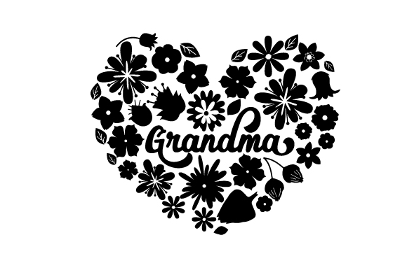 Download Free Grandma Floral Heart Svg Cut File By Creative Fabrica Crafts for Cricut Explore, Silhouette and other cutting machines.